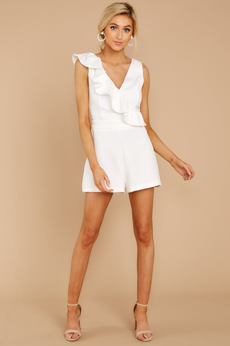 8a9433c9397 Chic White Ruffled Romper - Casual Sleeveless Romper - Playsuit ...