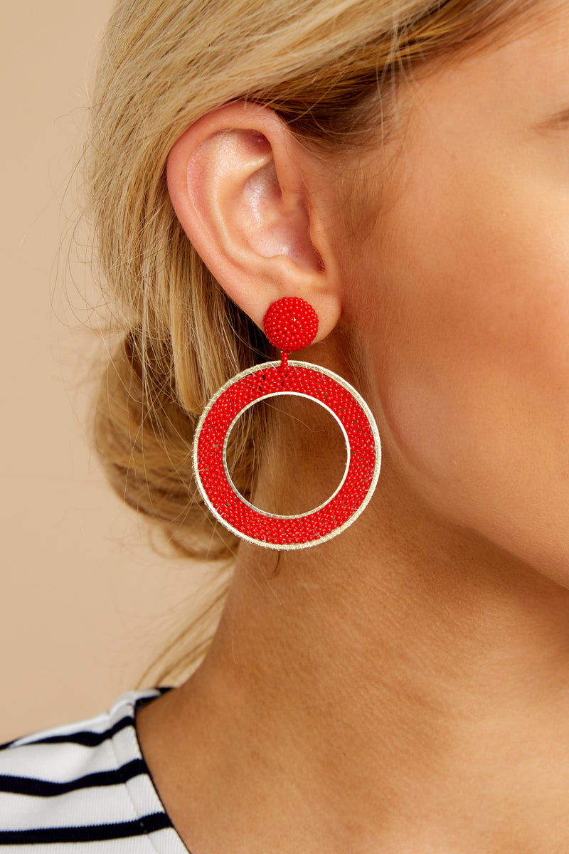 3 Spirit Clean Red Beaded Earrings at reddressboutique.com