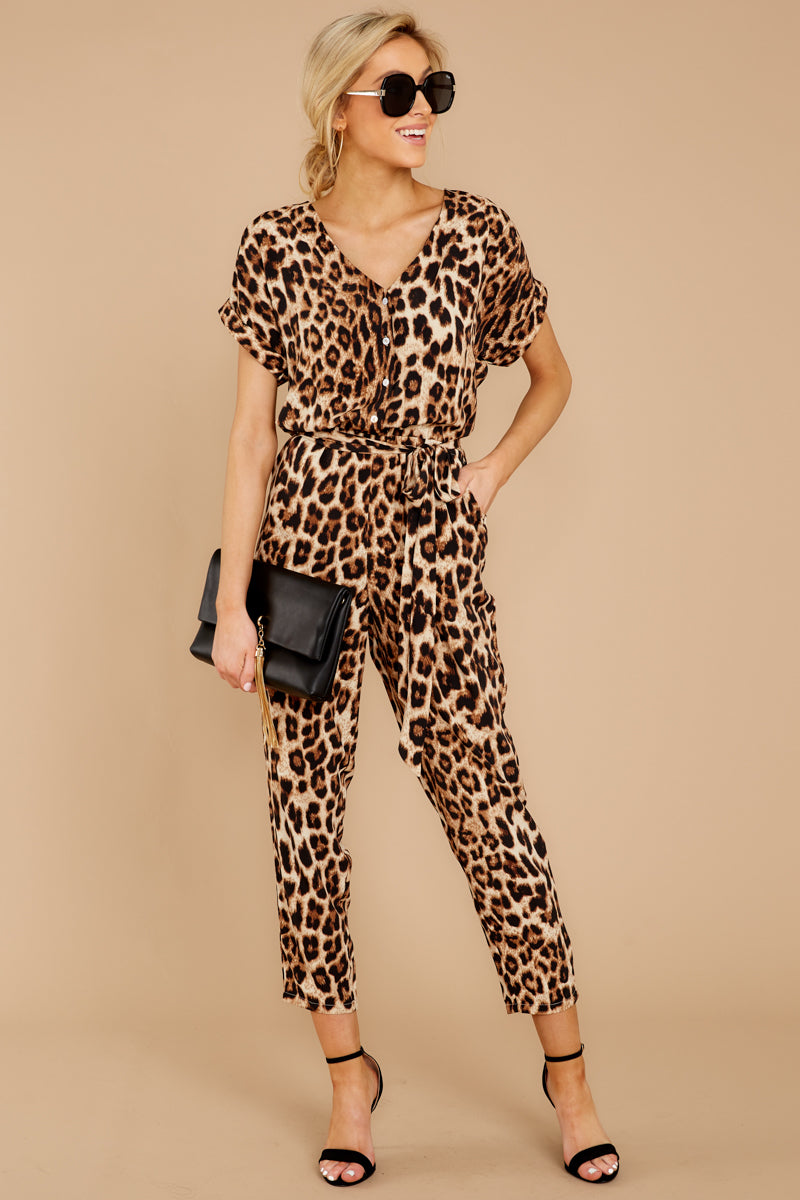 cdef423e41 Stylish Leopard Print Jumpsuit - Short Sleeve Jmpsuit - Playsuit ...