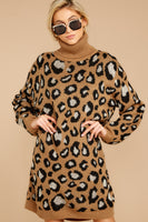 Sweater Long Sleeves Dropped Shoulder Animal Leopard Print Acrylic Ribbed Collared Turtleneck Evening Dress