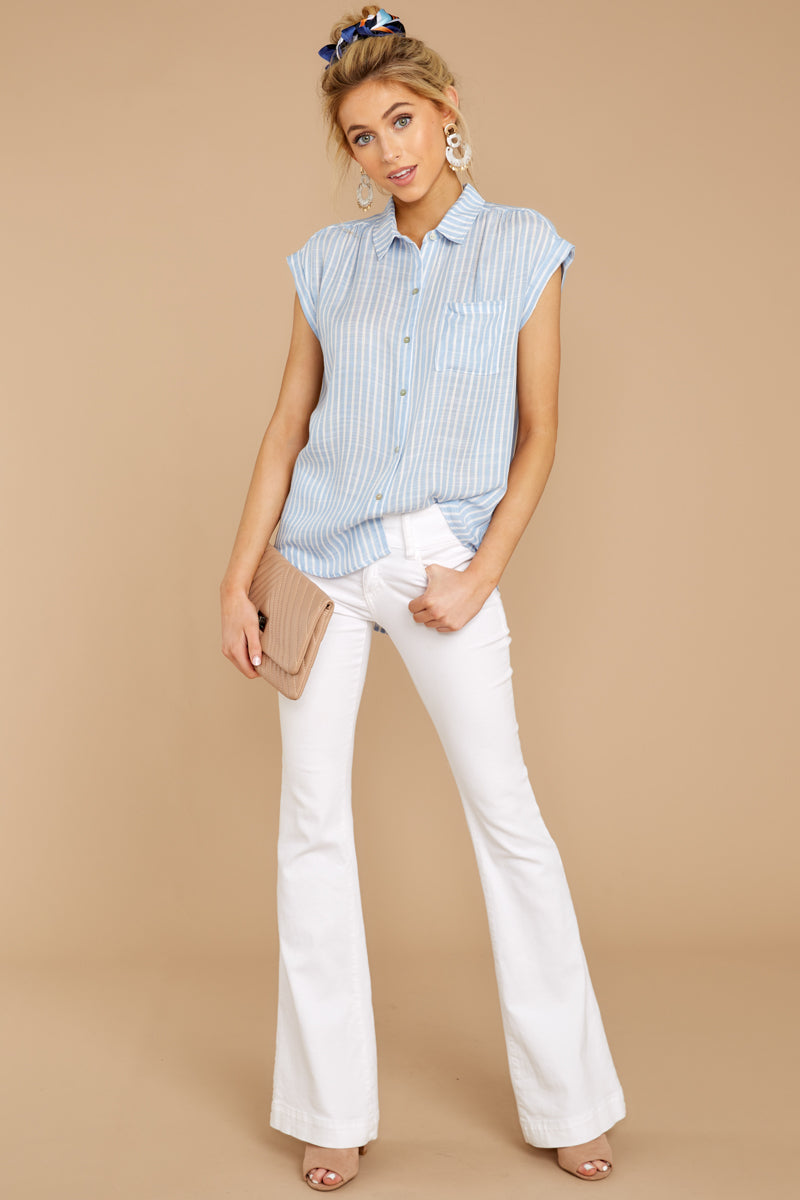 Steady Now Light Blue Stripe Button Up Top