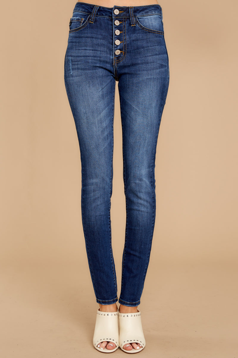2 Still In The Race Dark Wash Distressed Curvy Skinny Jeans at reddress.com