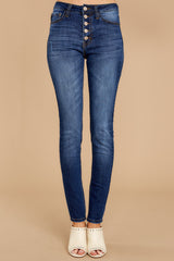 2 Still In The Race Dark Wash Distressed Curvy Skinny Jeans at reddressboutique.com