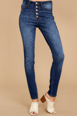 1 Still In The Race Dark Wash Distressed Curvy Skinny Jeans at reddress.com