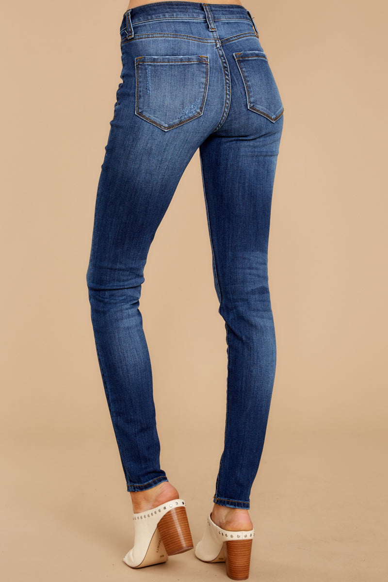 3 Still In The Race Dark Wash Distressed Curvy Skinny Jeans at reddress.com