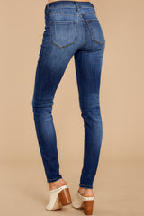 3 Still In The Race Dark Wash Distressed Curvy Skinny Jeans at reddressboutique.com