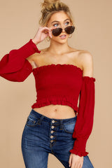 4 First Name Basis Ruby Red Crop Top at reddressboutique.com