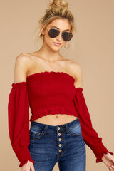 5 First Name Basis Ruby Red Crop Top at reddressboutique.com