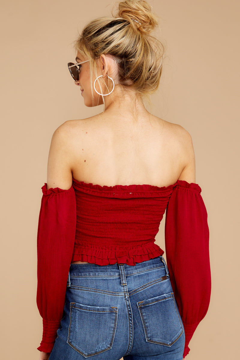 6 First Name Basis Ruby Red Crop Top at reddressboutique.com