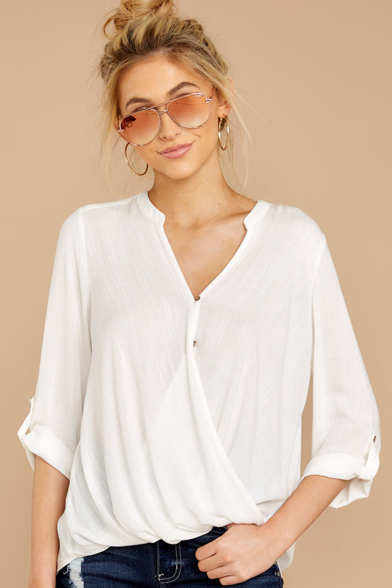 3 Stay For Me White Top at reddressboutique.com