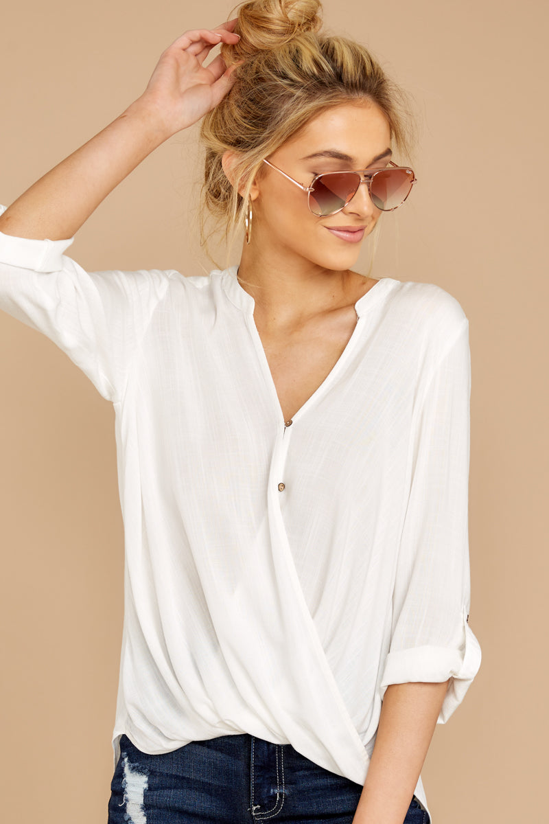 4 Stay For Me White Top at reddressboutique.com