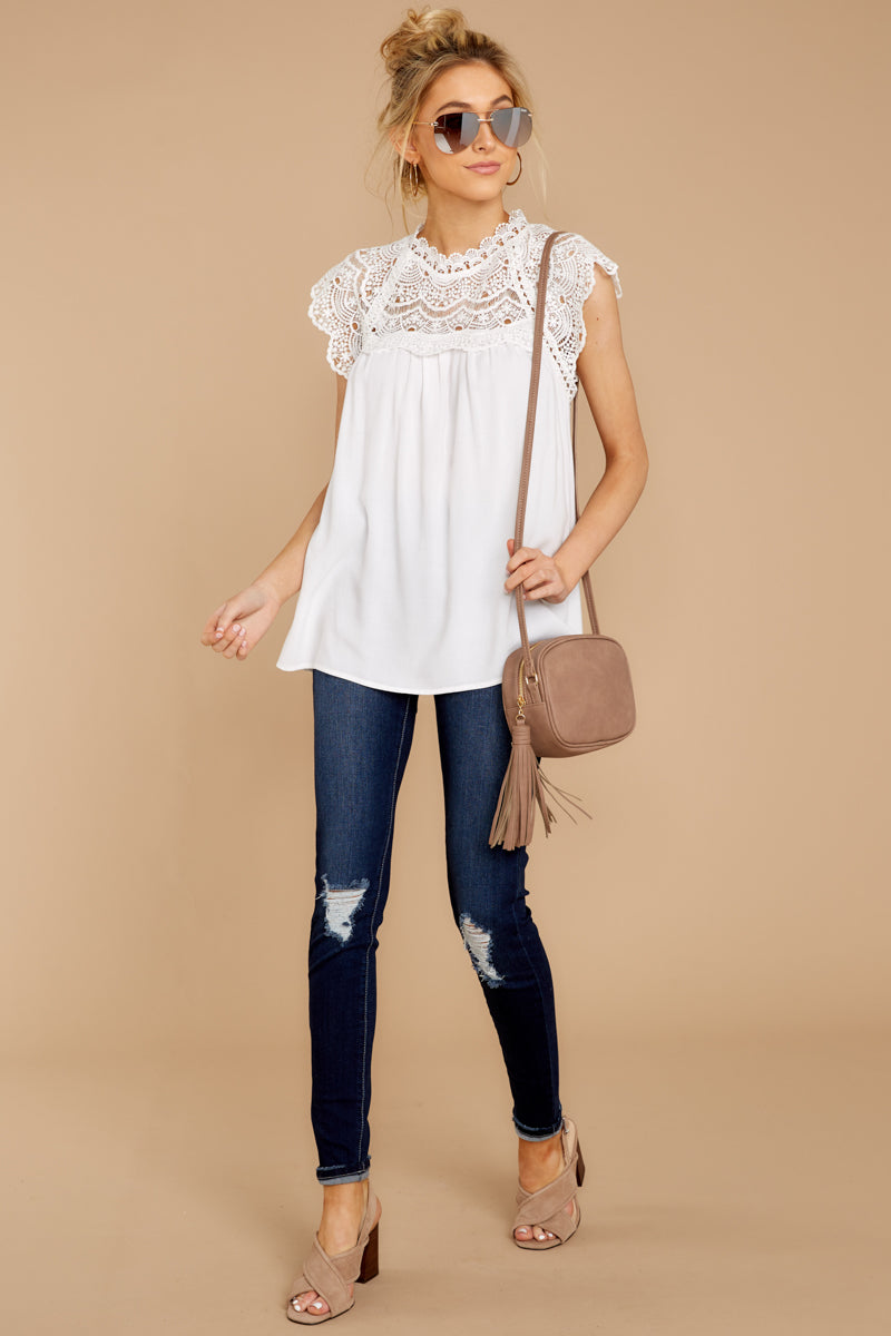 8d3290f3f2452d Flirty White Lace Blouse - Flowy Sleeveless Top - Shirt - $34.00 ...