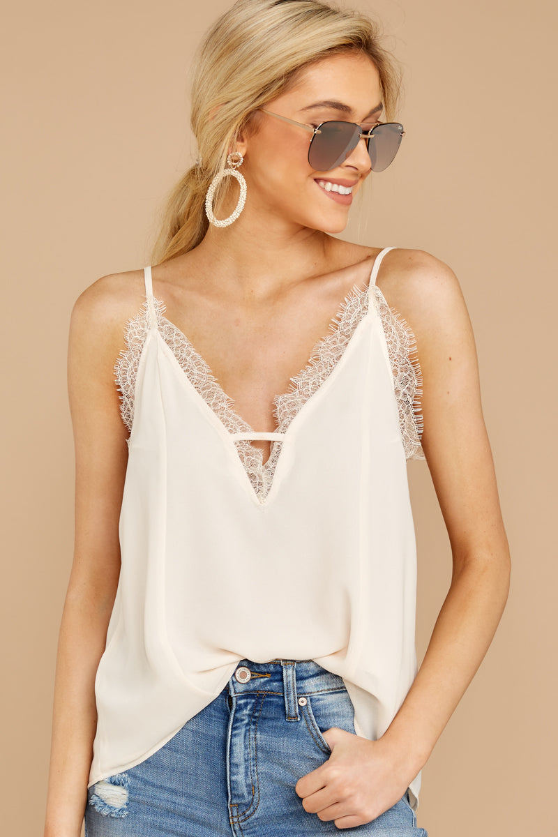 2 Lace To Meet You Cream Tank Top at reddressboutique.com