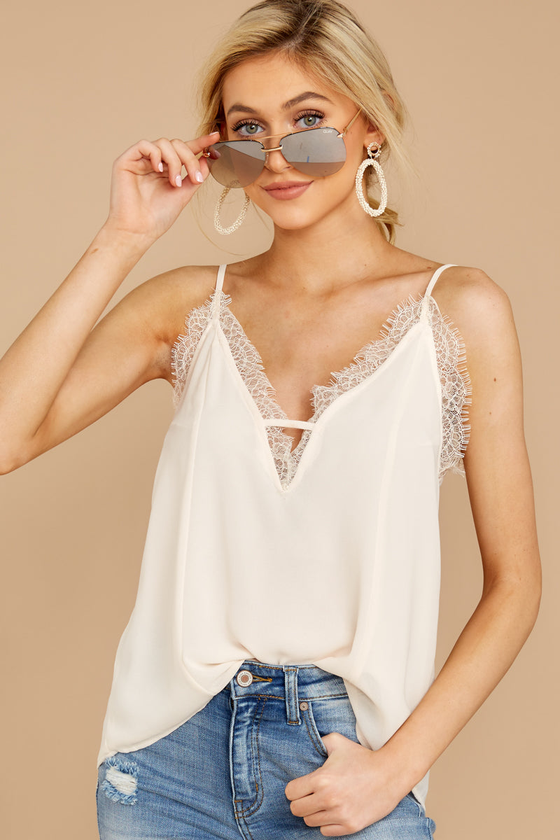 Lace To Meet You Cream Tank Top