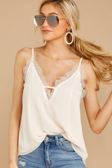 4 Lace To Meet You Cream Tank Top at reddressboutique.com