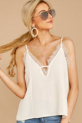 5 Lace To Meet You Cream Tank Top at reddressboutique.com