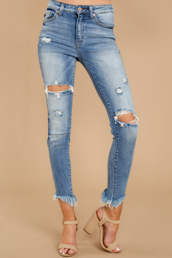 1 Your Every Whim Dark Wash Distressed Skinny Jeans at reddressboutique.com