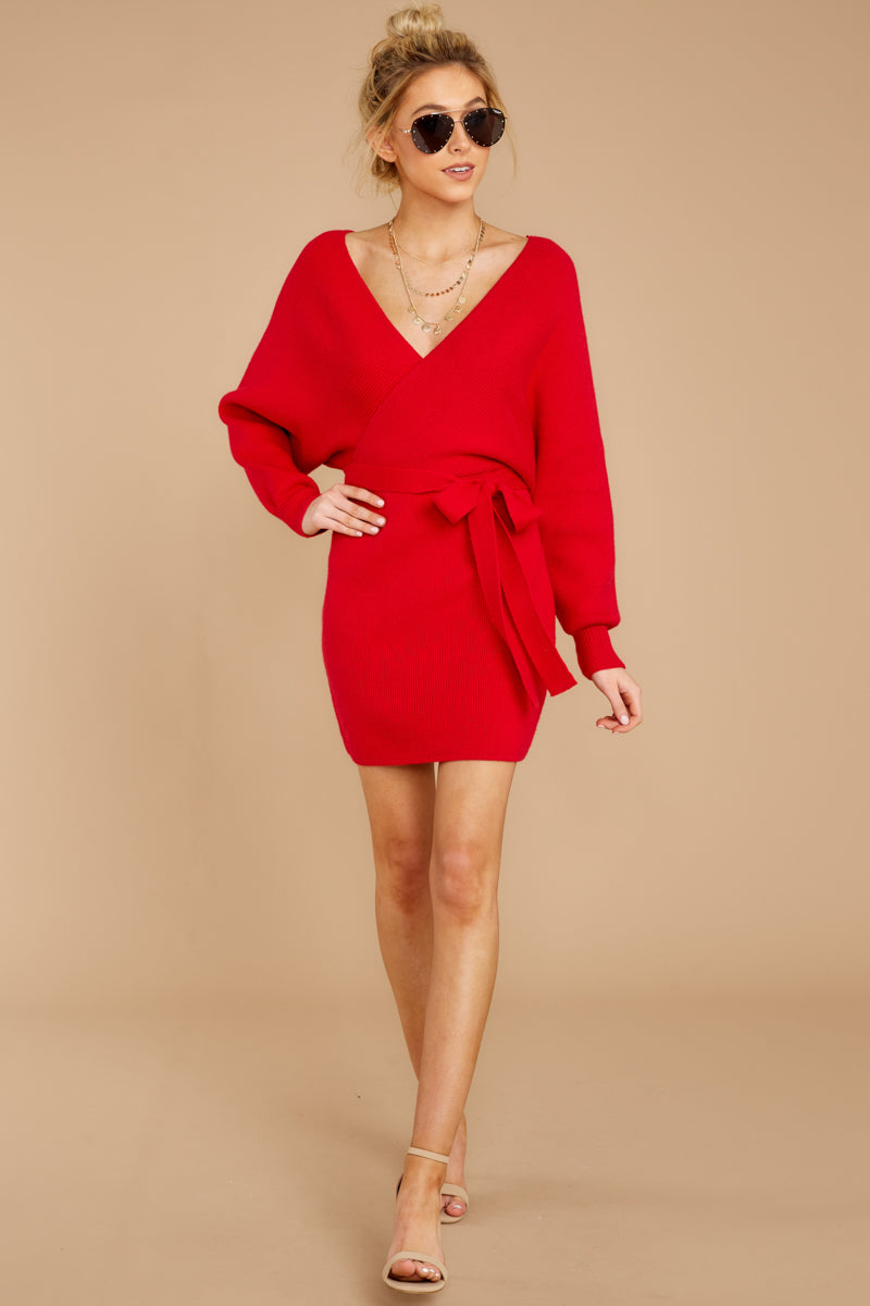 1 Think About It Red Sweater Dress at reddressboutique.com