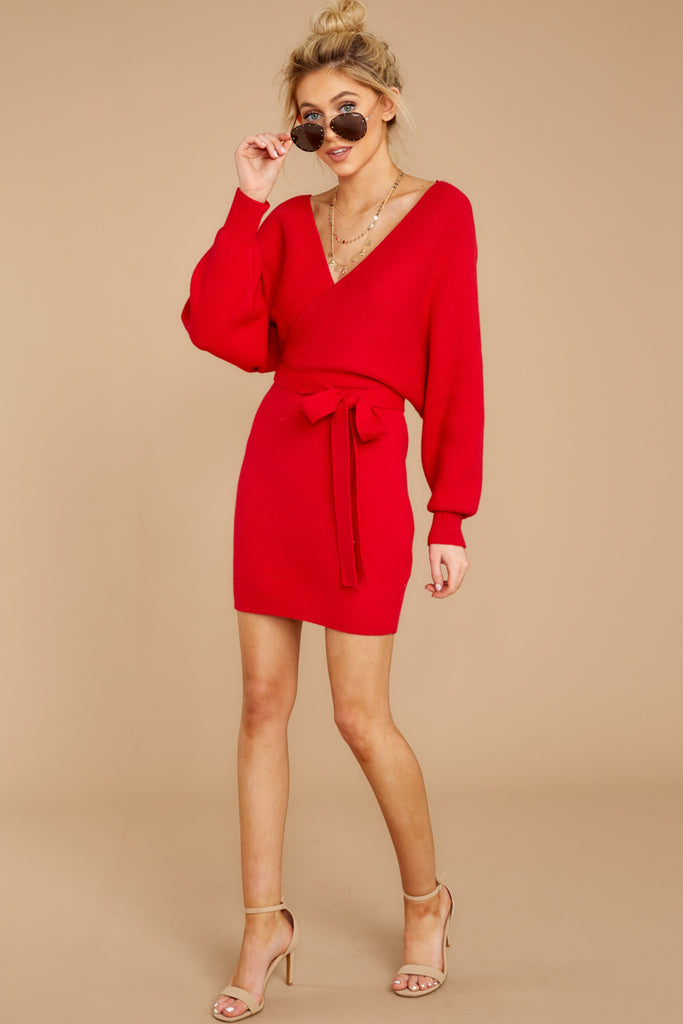Sexy Red Knit Sweater Dress Short Wrap Sweater Dress