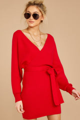 4 Think About It Red Sweater Dress at reddress.com