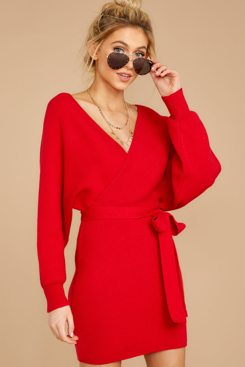 5 Think About It Red Sweater Dress at reddressboutique.com