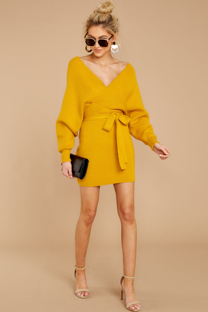 767186f793a Trendy Yellow Knit Sweater Dress - Short Sweater Dress - Dress -  49 – Red  Dress