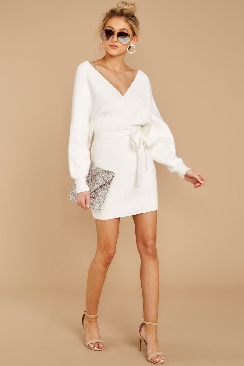 1 Think About It Ivory Sweater Dress at reddress.com