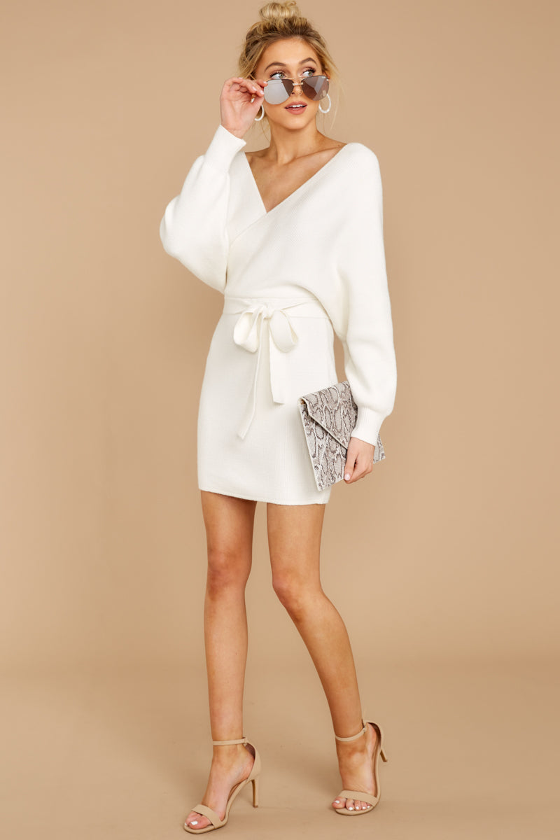 2 Think About It Ivory Sweater Dress at reddress.com