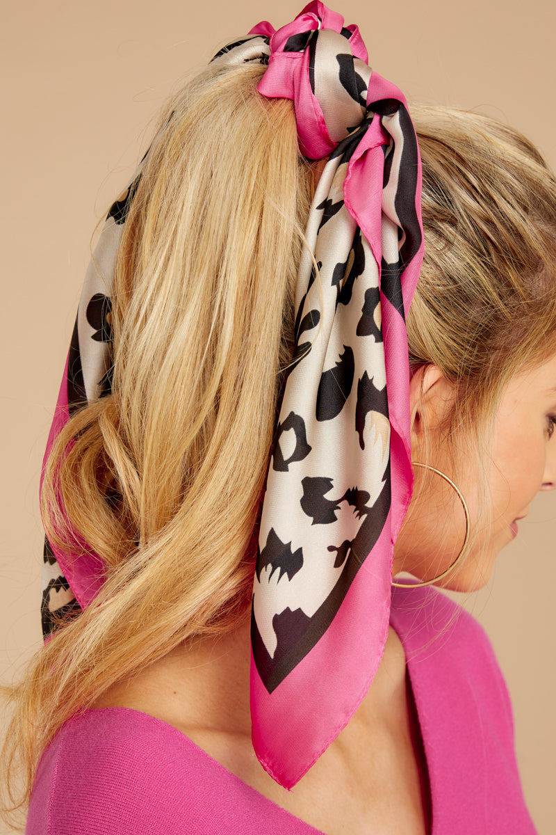 1 Pounce On It Hot Pink Leopard Print Scarf at reddressboutique.com
