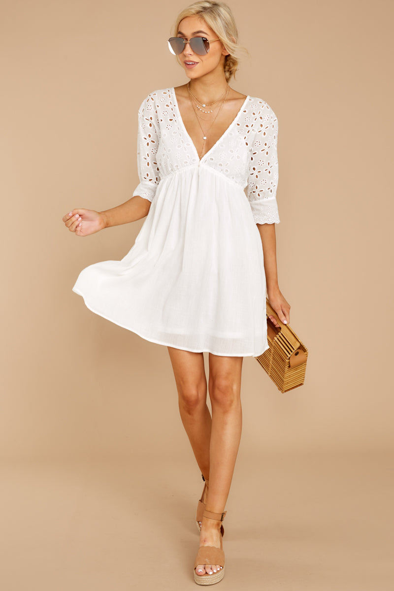 2 Always Me White Eyelet Lace Dress at reddress.com