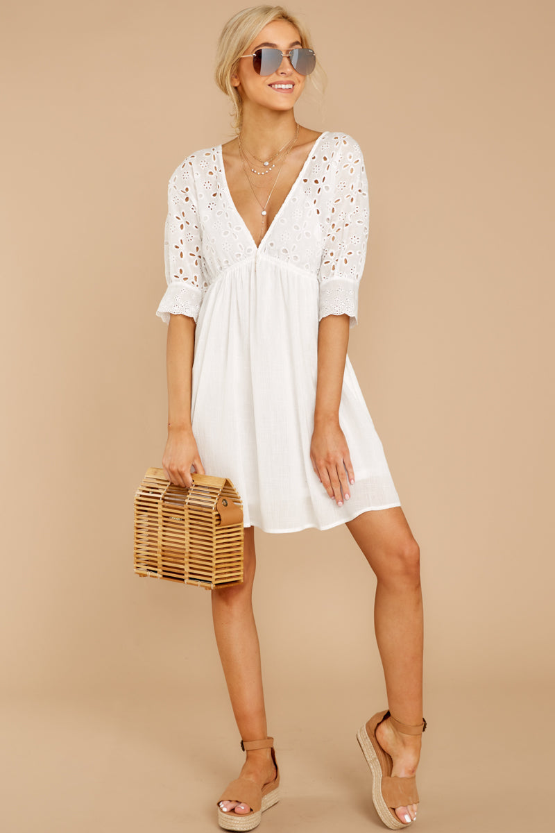 3 Always Me White Eyelet Lace Dress at reddress.com