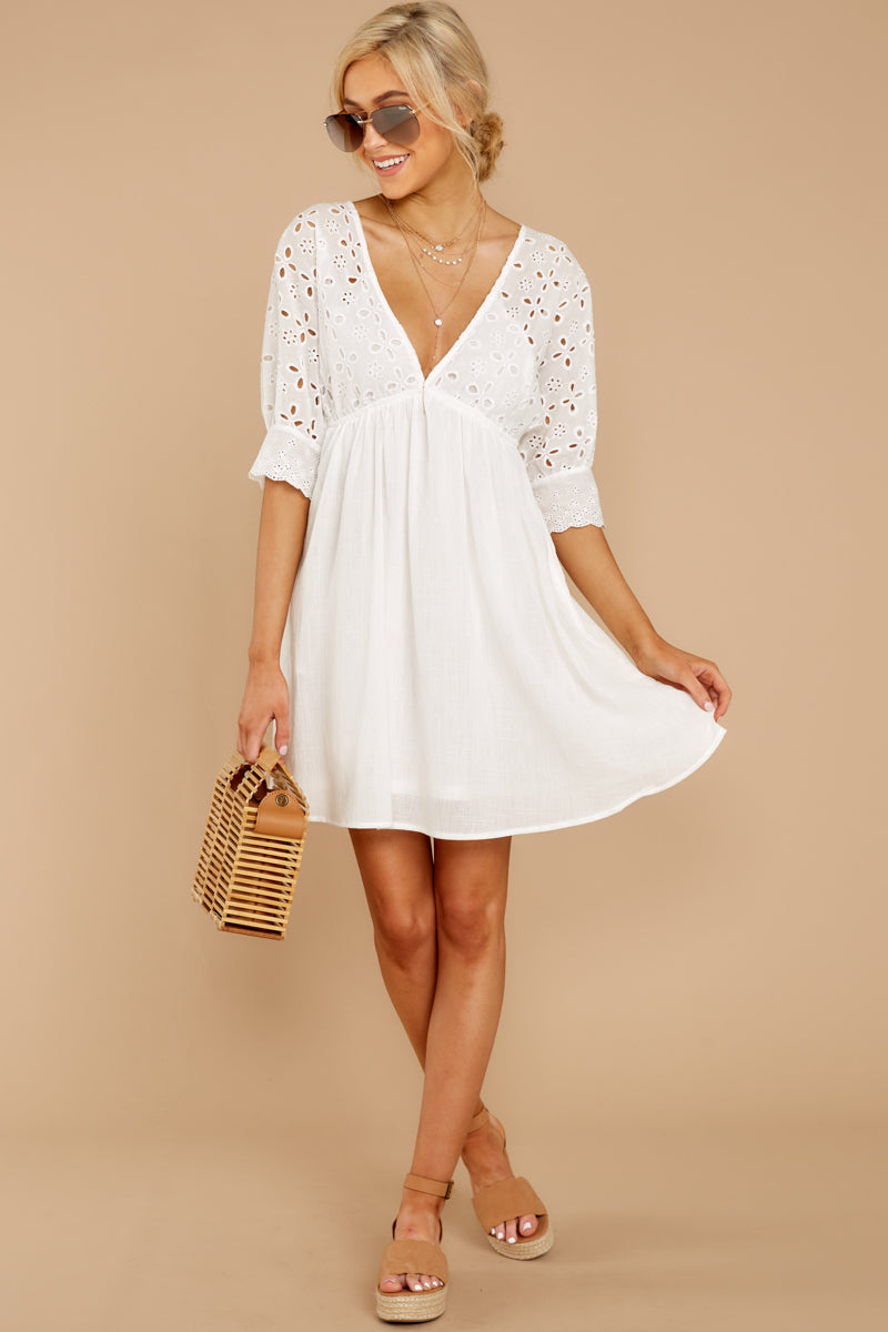 4 Always Me White Eyelet Lace Dress at reddress.com