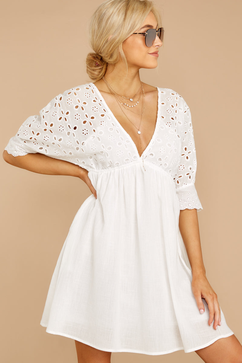 4 Always Me White Eyelet Lace Dress at reddressboutique.com