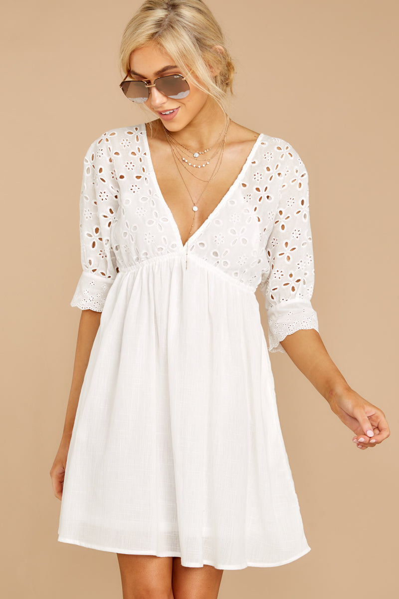 5 Always Me White Eyelet Lace Dress at reddress.com