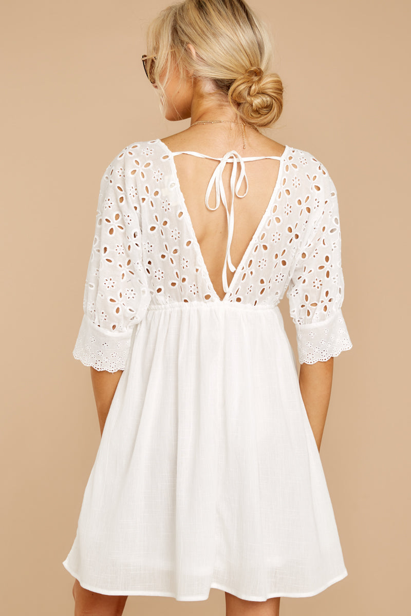 6 Always Me White Eyelet Lace Dress at reddress.com