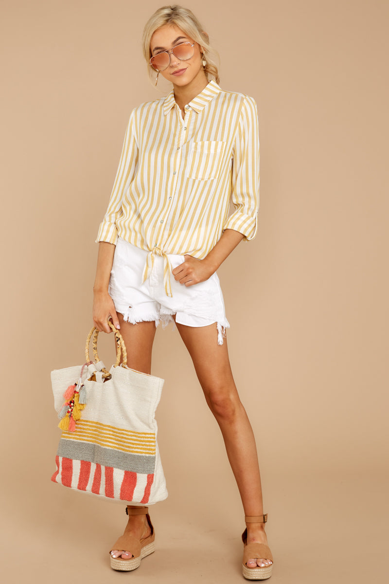 1 I Just Might Sunshine Yellow Stripe Button Up Top at reddressboutique.com