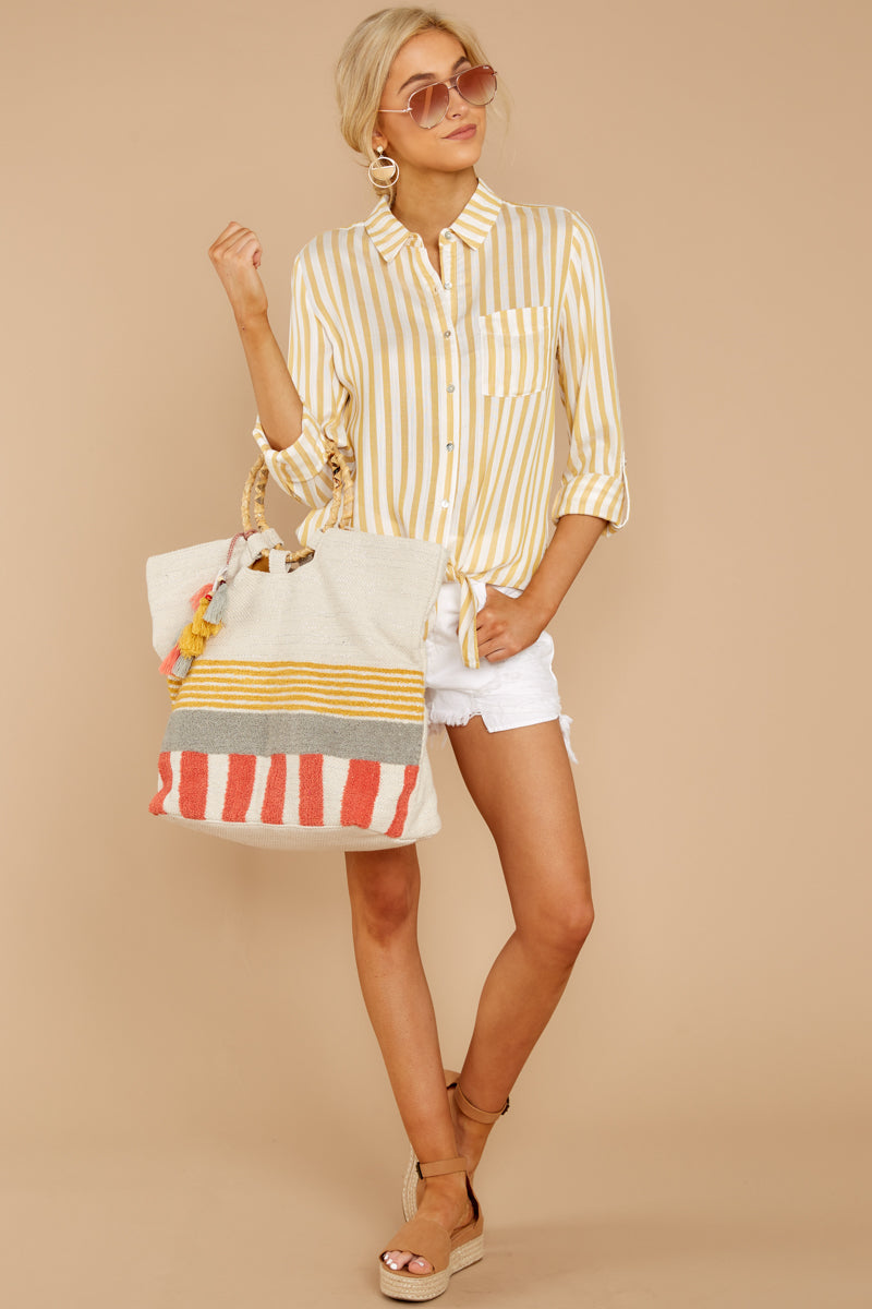 2 I Just Might Sunshine Yellow Stripe Button Up Top at reddressboutique.com