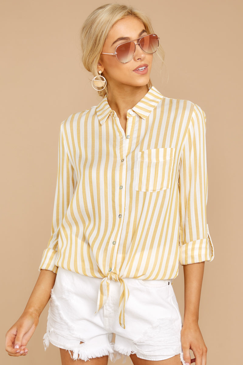 3 I Just Might Sunshine Yellow Stripe Button Up Top at reddressboutique.com