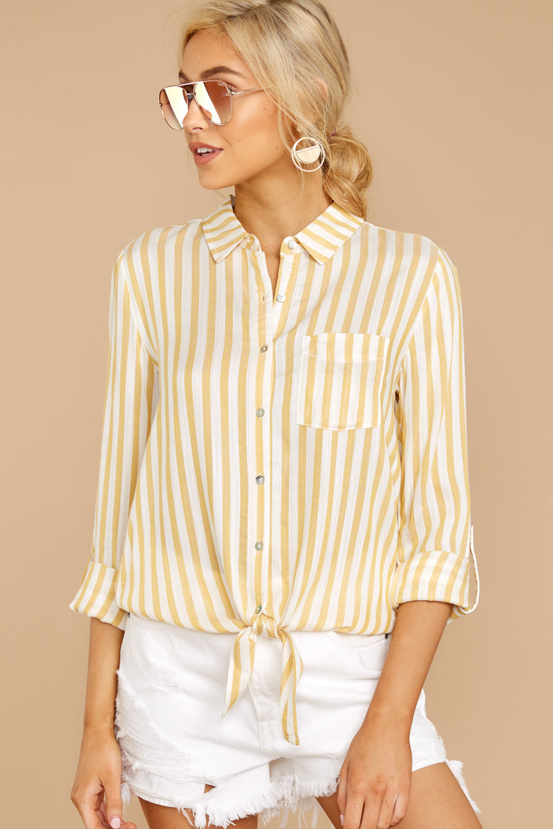 4 I Just Might Sunshine Yellow Stripe Button Up Top at reddressboutique.com