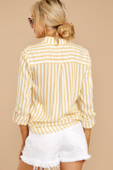 5 I Just Might Sunshine Yellow Stripe Button Up Top at reddressboutique.com