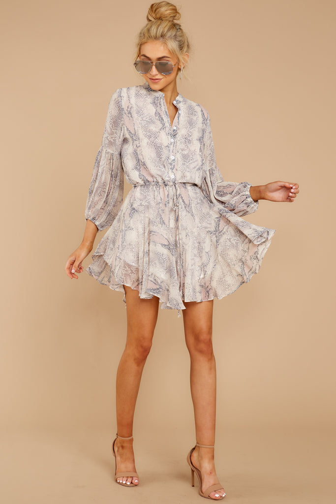 1 Say Something Blush Multi Snake Print Dress at reddress.com