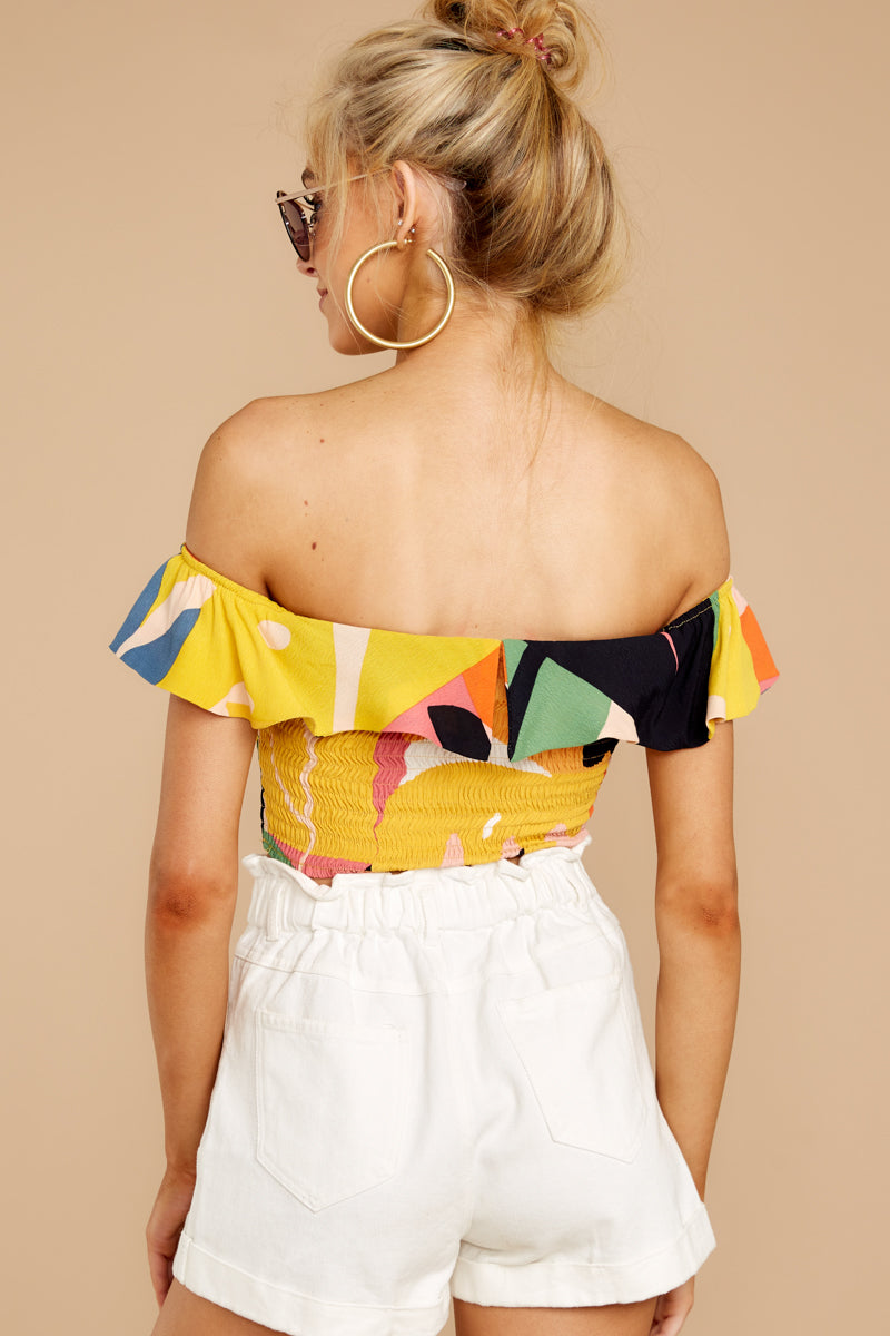The Last Time Yellow Print Crop Top