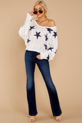 1 Let's Camp Out White And Navy Star Top at reddressboutique.com