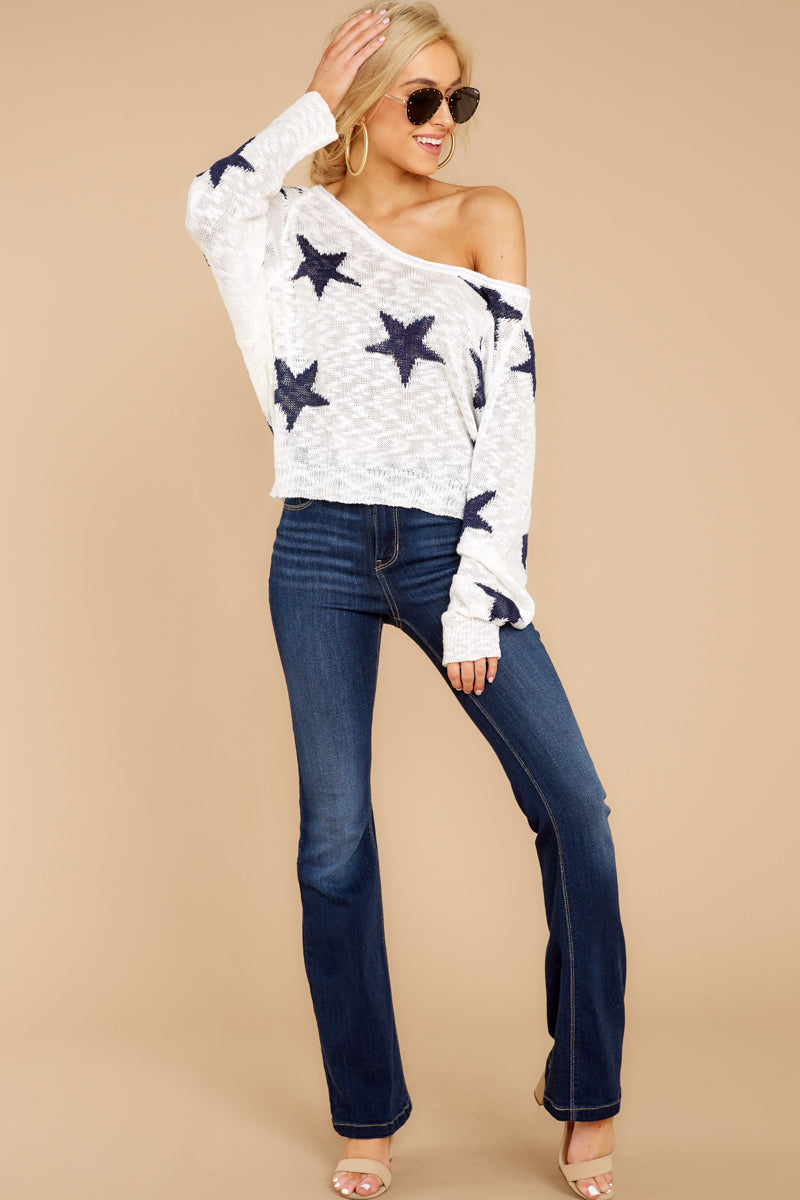 2 Let's Camp Out White And Navy Star Top at reddressboutique.com