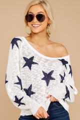 3 Let's Camp Out White And Navy Star Top at reddressboutique.com