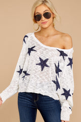 4 Let's Camp Out White And Navy Star Top at reddressboutique.com