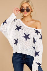 5 Let's Camp Out White And Navy Star Top at reddressboutique.com