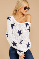6 Let's Camp Out White And Navy Star Top at reddressboutique.com