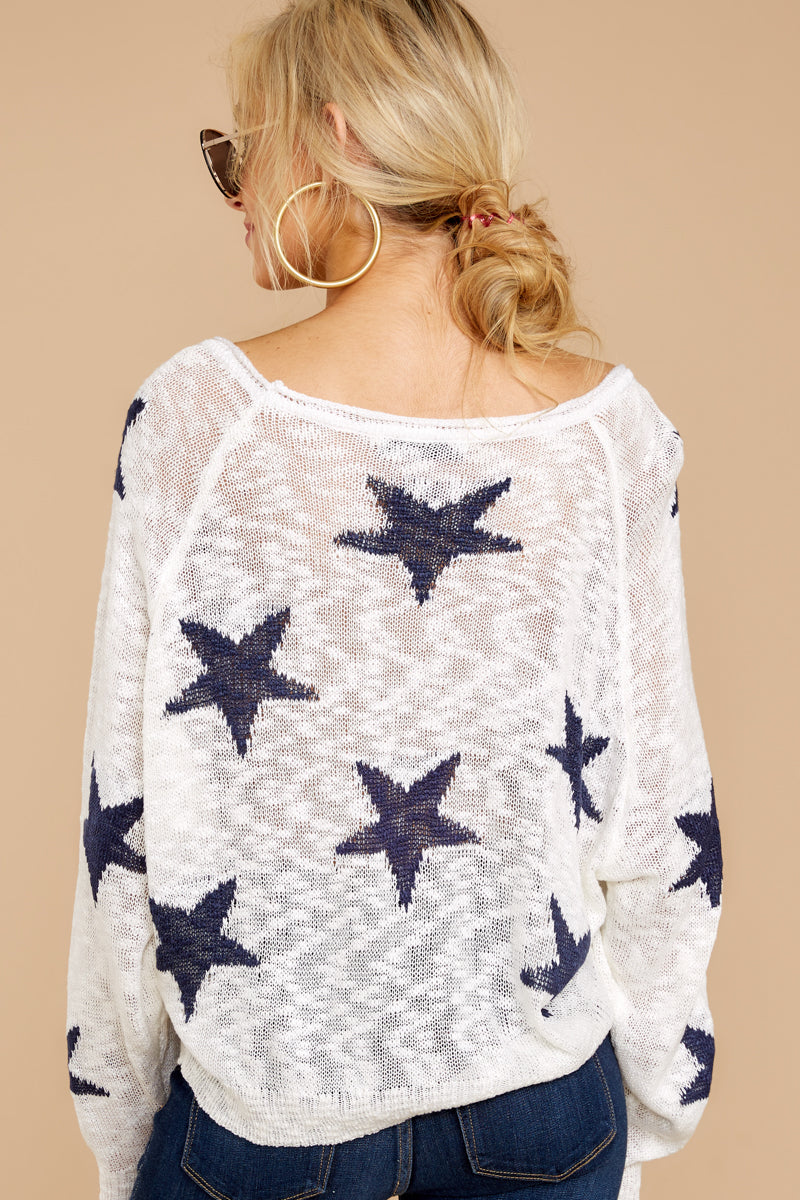 7 Let's Camp Out White And Navy Star Top at reddressboutique.com