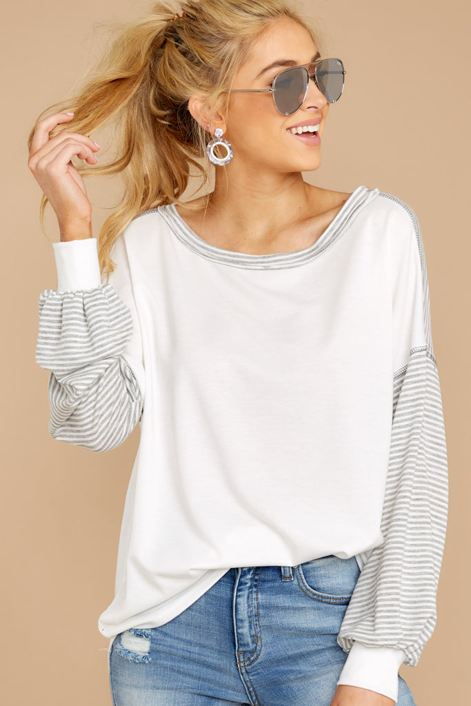 171ed92d006af Crossed Your Mind White And Grey Stripe Top